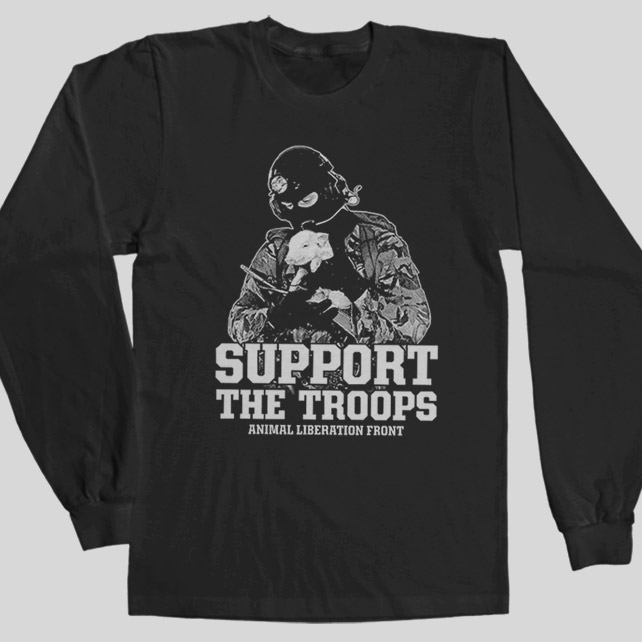9528568768b Support The Troops ANIMAL LIBERATION FRONT Vegan ALF LONGSLEEVE T ...
